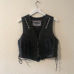Unik Leather Beaded Fringe Motorcycle Vest